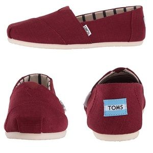 Brand new TOMS in black cherry heritage canvas 8.5